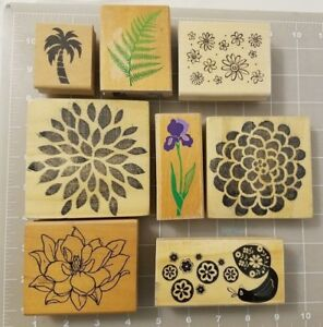 Huge Lot of Assorted Wood Mounted Rubber Stamps Flowers Blossoms Floral & Plants