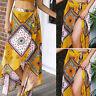 Fashion Women High-Waisted Boho Asymmetrical Hem Tie up Print Wrap Beach Skirt