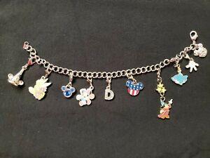 Gorgeous Disney World Charm Bracelet Mickey, Minnie, Cinderella,..