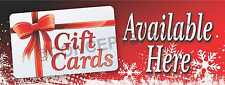 1.5'X4' GIFT CARDS AVAILABLE HERE BANNER Sign Certificates Holiday Birthday
