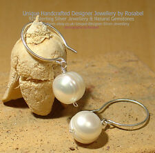 ELEGANT NATURAL WHITE PEARL 925 SILVER EARRINGS #0818-2