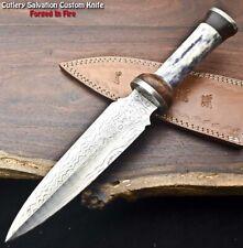 Rare!!! Beautiful Handmade Damascus Steel Dagger Knife   CAMEL BONE