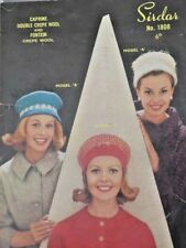 Original 1960s Vintage knitting pattern-Flowerpot hat and 2 others Sirdar 1808
