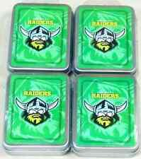 CANBERRA RAIDERS NRL 4 PACKS DECKS OF TEAM LOGO PLAYING CARDS IN TIN - BRAND NEW