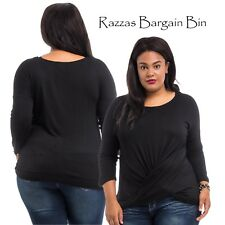 New Ladies Black Crossover Front Top Plus Size 18/2XL (9832)LX