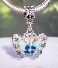Blue Rhinestone Enamel Butterfly Dangle Bead for Silver European Charm Bracelets