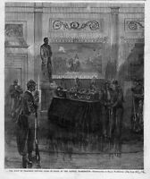 THADDEUS STEVENS BODY LYING IN STATE AT THE CAPITAL, WASHINGTON, CASKET GUARDS