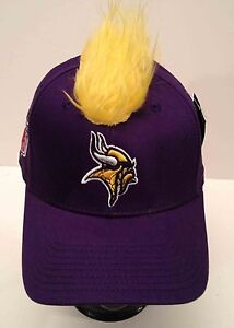 "Minnesota VIkings NFL Purple Yellow Mohawk Hair Cap Reebok Flex Fit Hat   ""SALE"""