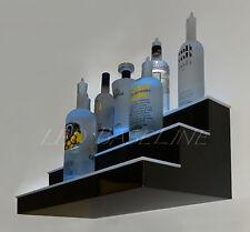 24 3 Step Wall Mount Led Lighted Bar Shelf Homebar Liquor Bottle Display Rack