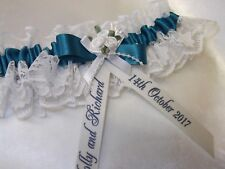 PERSONALISED TEAL BLUE & IVORY BRIDES WEDDING GARTER NEW IN BOX