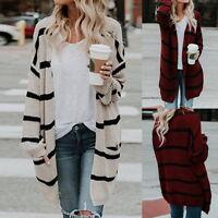 Women Stripe Baggy Cardigan Coat Chunky Stylish Knitted Oversized Sweater Jumper