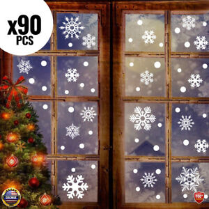 90 PCS Christmas Snowflake Window Stickers Clings Decorations White Xmas Decals