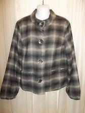 ASHLEY JUDD Women's CHARCOAL PLAID BLAZER JACKET COAT  Size LARGE