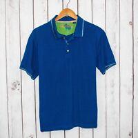 Robert Graham Men's Short Sleeve Polo Shirt Solid Blue Sz Large