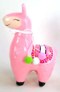Money Piggy Saving Llama Box White Green or Pink Hanging Pom Poms Bank Alpacha