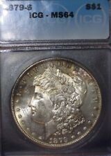 1879-S Morgan Silver Dollar  ICG - MS64, Pleasantly  Rim Toned , Issue Free