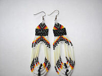 """porcupine quill  Earrings NEW Navajo  Grey  orange and yellow looped 3 1/2"""""""