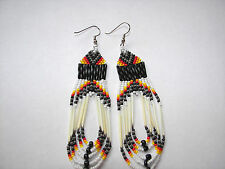 porcupine quill  Earrings NEW Navajo  Grey  orange and yellow looped 3 1/2""