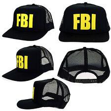 FBI Federal Bureau of Investigation Agent Mesh Snap Back All Black Trucker Hat