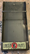 """Vintage VERY RARE """"Lincoln Paints"""" Advertising Brush Holder 4 1/4in. x 9 5/8in."""