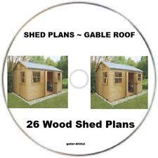 GABLE 12' X 8' BACKYARD 26 GARDEN WOOD SHEDS ~ MAN TOYS SHED  - CAD DESIGNED CD