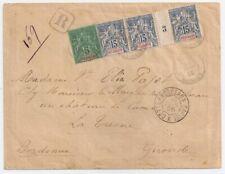 1895 REUNION TO FRANCE REG COVER, 15c MILLESIMES STRIP, HIGH VALUE !!