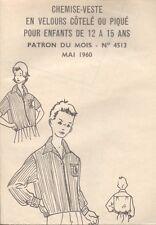 ▬► PATRON Couture Modes et Travaux - Chemise-veste 12 à 15 ans Mai 1960