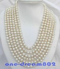 "Long 120"" 9mm round white freshwater pearl necklace"