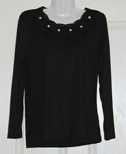 NWT Womens size 12 black top made by MILLERS - neck detail