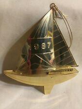 1987 Gold Color Metal Sailboat Christmas Ornament 3D