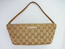 Auth GUCCI GG Canvas Leather Accessory Pouch Pochette Mini Hand Bag Italy (k