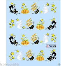 Halloween Nail Art Water Decals Transfers Ghosts Stars Pumpkins Cat (921)