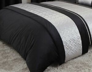 Quilted Bed Runner Luxury Embellished Bed Throw 60 x 240cm Capri Black & Silver