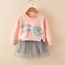 Kids Baby Girls Patchwork Blouse Hoodie Princess Tutu Dress Long Sleeve Clothes