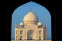 Taj Mahal Outlined by Taj Mahal Mosque Archway Photo Art Prin Poster 18x12