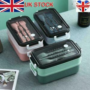 3 Compartments Lunch Box For Kids Food Adults Container Set Bento Storage Box//