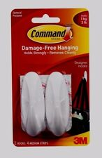 3M Command 2 Medium Designer HOOKS 4 Adhesive STRIPS Reusable White  Wall 17081