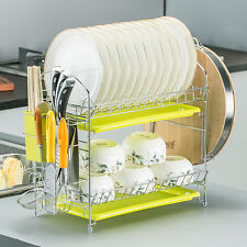 "2-Tier Dish Rack 19"" x 15'' x 15'' Kitchen Chrome Cup Dish Drying Rack Drainer"