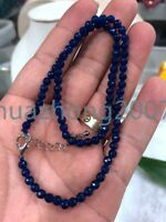 "New 4mm Vintage Faceted Brazil Blue sapphire Round Beads Gems Necklace 18"" AAA"