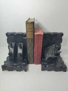 Vintage Gothic Medieval Revival Handcrafted Wood Metal Bookends Spain