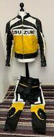 SUZUKI Yellow GSX-R Motorbike Motorcycle Leather Armoured 2 Piece Suit XXL