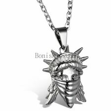 Fashion Statue of Liberty Head Stainless Steel Pendant Necklace Men's Women's