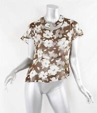 MARNI Womens Brown+Ivory Floral Print Short-Sleeve Silk Shirt Top Blouse 42