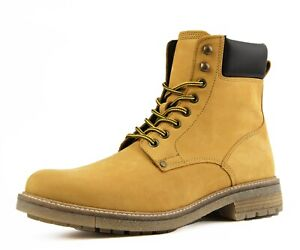 Men's Casual Boots, Genuine Suede High Top Lace Up Combat Boots w/ Inside Zipper