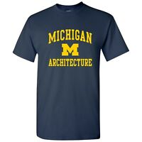 Michigan Wolverines Arch Logo Architecture T-Shirt - Navy