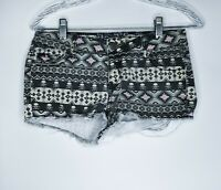 Hot Kiss Juniors Womens Shorts Size 4 Cici Aztec Skull Print Frayed Cut Off