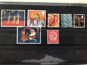 UK, Angleterre 7 used stamps, Christmas, VF