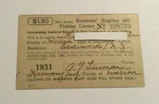 1931 Vintage New Jersey Hunting & Fishing License