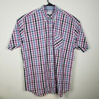 Cutter Buck Mens 2XT Shirt Big Tall Plaid Short Sleeve Button Down Plaid