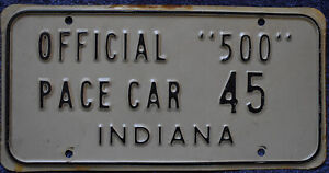 1961 Indy 500 Pace Car License Plate